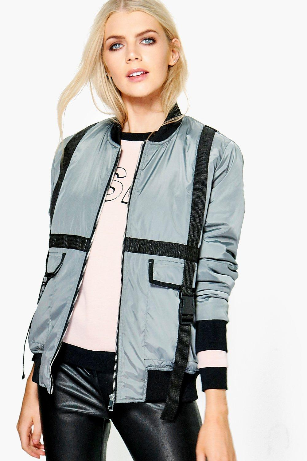 Boutique Lauren Strap Buckle Detail Bomber Jacket