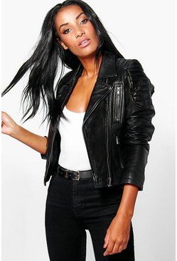 Boutique Emily Zip Detail Leather Jacket