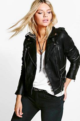 Boutique Mia Buckle Detail Leather Biker Jacket