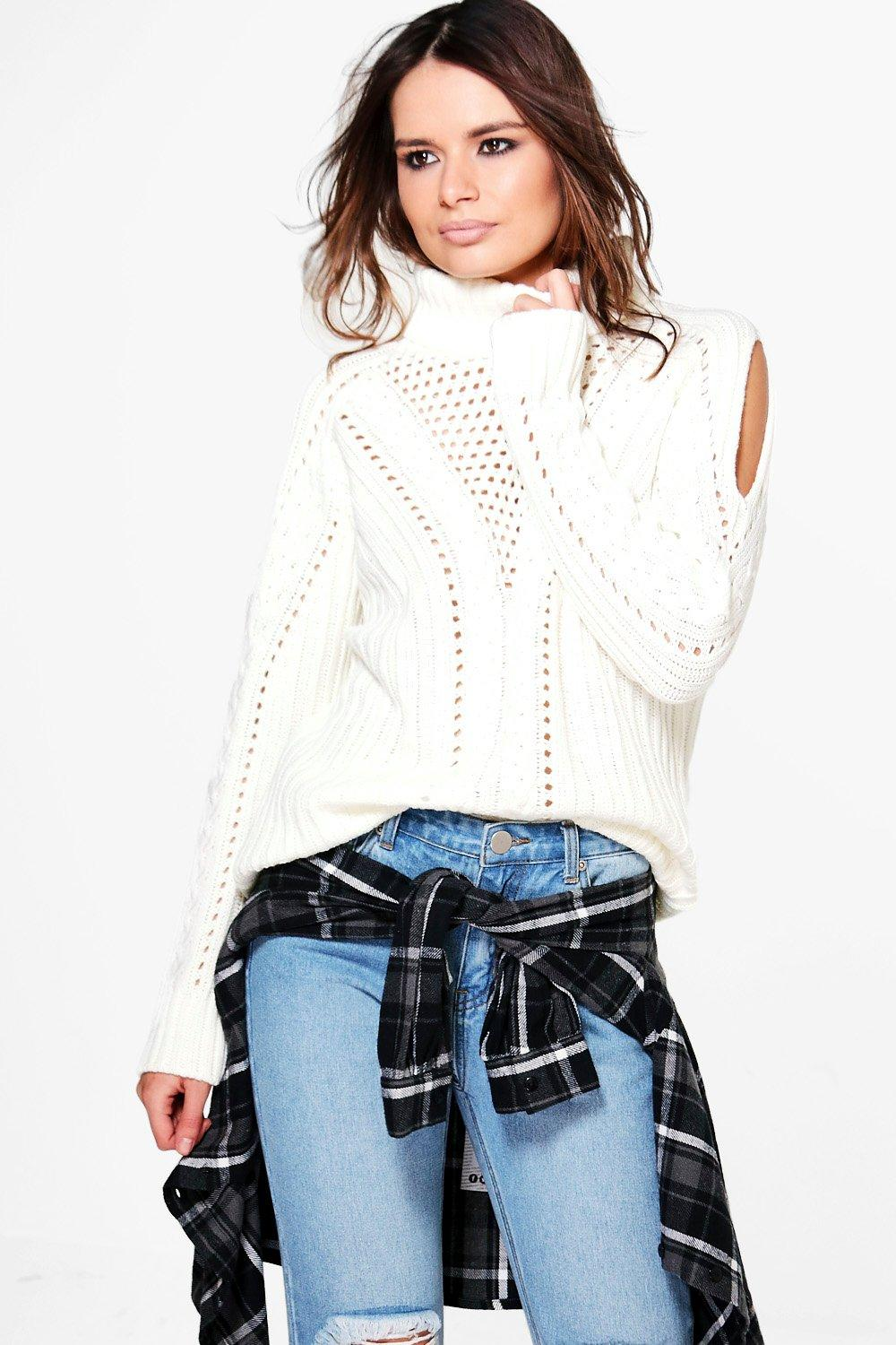 Georgia Cable Cold Shoulder Roll Neck Jumper