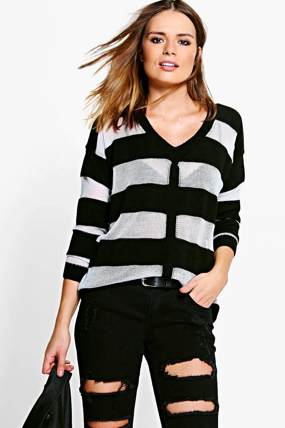 Rebecca Sheer Stripe V-Neck Jumper