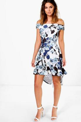 Becky Off Shoulder Floral Dip Hem Midi Dress