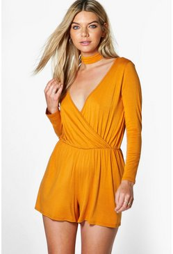 Mia Choker Style Wrap Front Playsuit