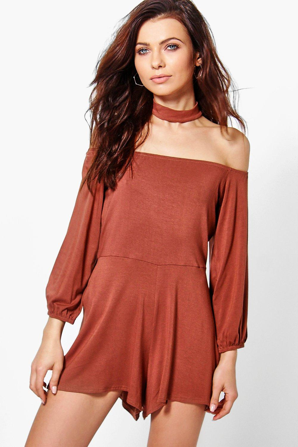 Jen Off The Shoulder Choker Style Playsuit