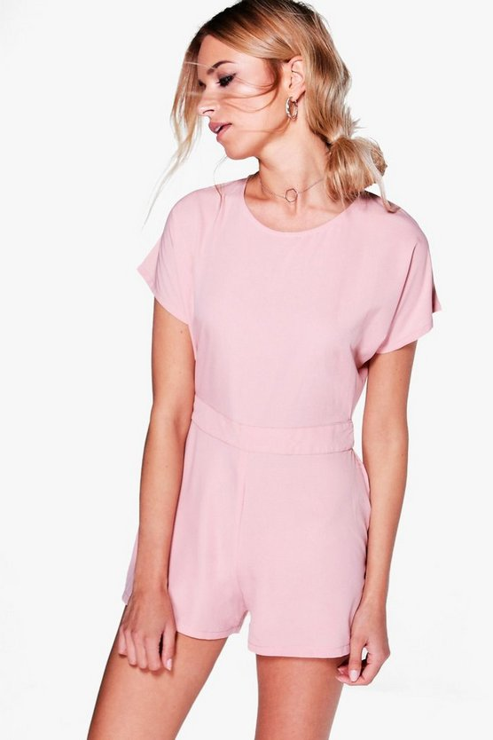 Capped Sleeve Solid Colour Playsuit