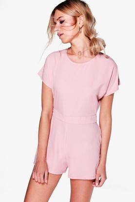 Amy Capped Sleeve Solid Colour Playsuit