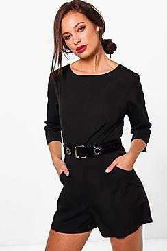 Ellie 3/4 Sleeve Solid Colour Playsuit