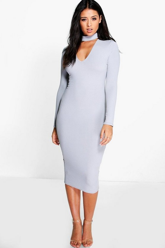 Rosie Ribbed Choker Midi Dress