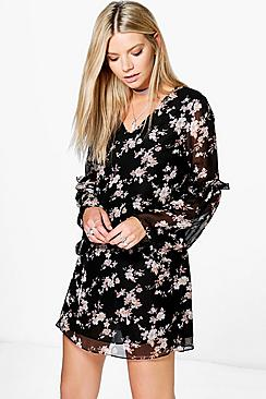 Sara Floral with Bell Sleeve Slip Dress