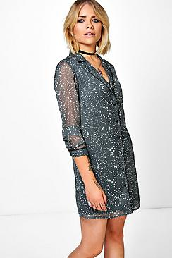 Jessica Star Printed Pyjama Shirt Dress!