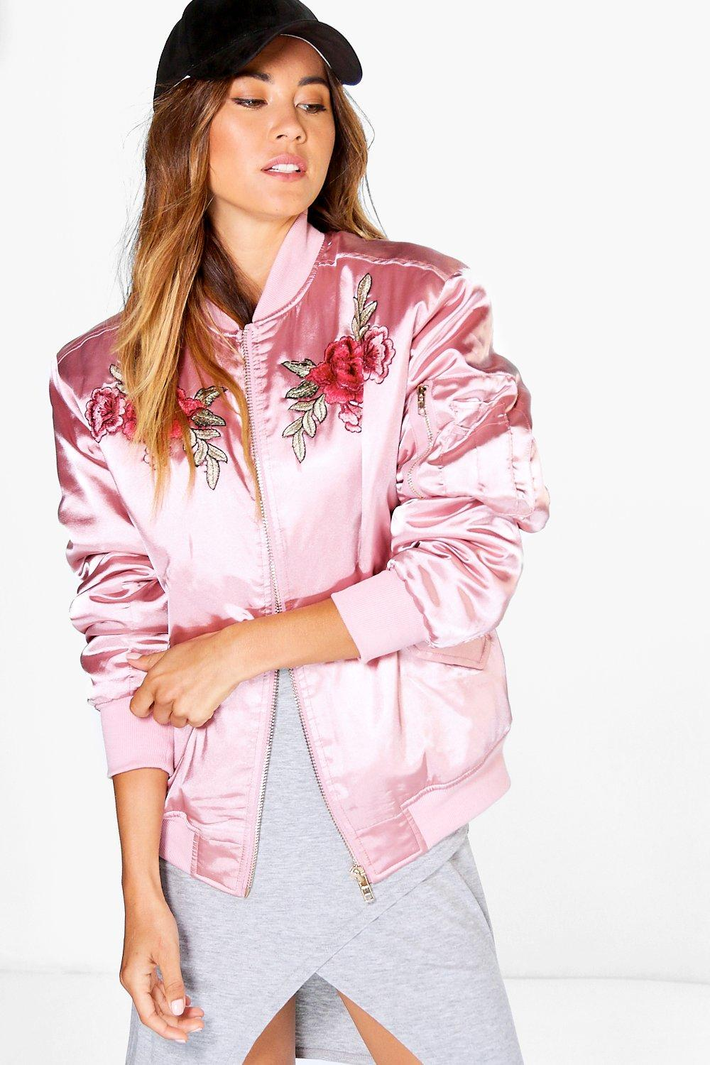 Boutique Ella Rose Embroidered Bomber