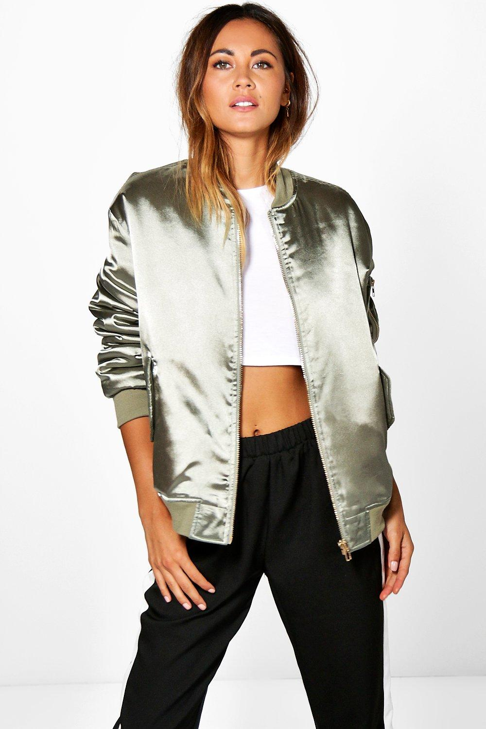 Boutique Evie Satin Bomber Jacket