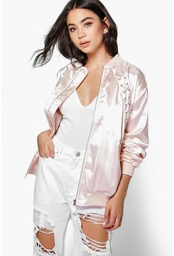 Megan Lace Up Bomber Jacket