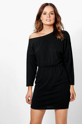 Harlow Slashneck Ribbed Tunic Dress