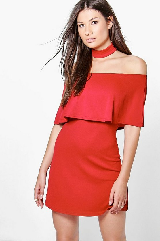 Ellie Frill Off Shoulder Choker Dress
