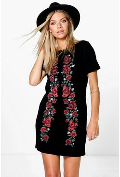 Mila Printed Embroidered Shift Dress