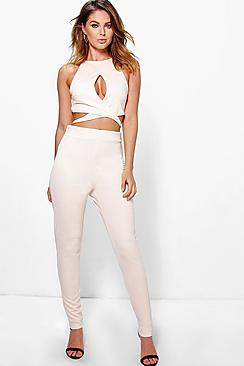 Ria Wrap Over Front Tie Waist Detail Jumpsuit