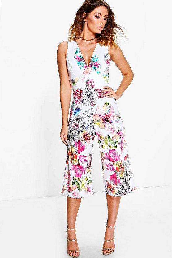 Jill Cross Back Floral Culotte Jumpsuit