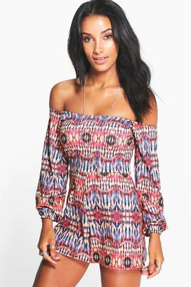 Laura Multi Print Off The Shoulder Playsuit