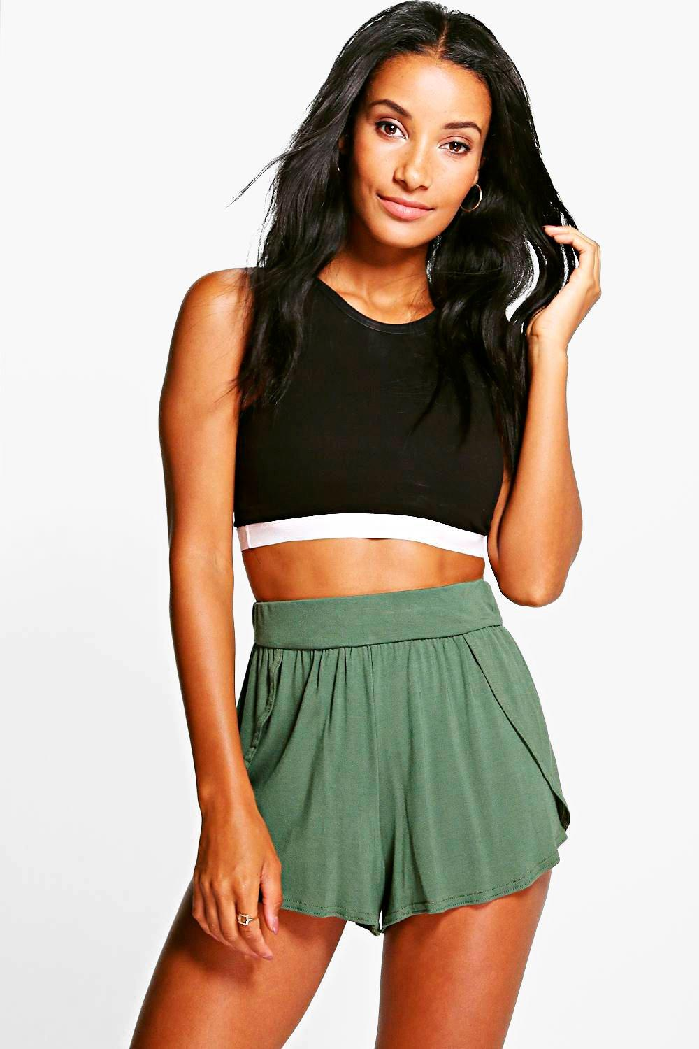 Wrap Over Jersey Shorts  khaki
