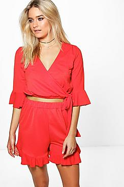 Mia Wrap Top Frill Shorts Co-Ord