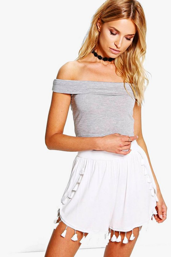 Faye Tassel Trim Wrap Over Shorts