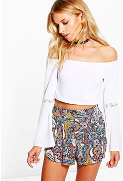 Jen Paisley Print Wrap Over Runner Shorts