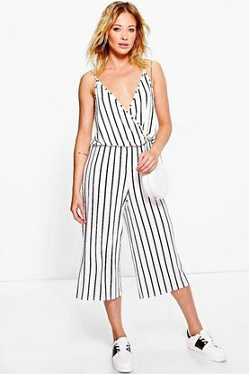Lura Striped Culottes Wrap Front Jumpsuit