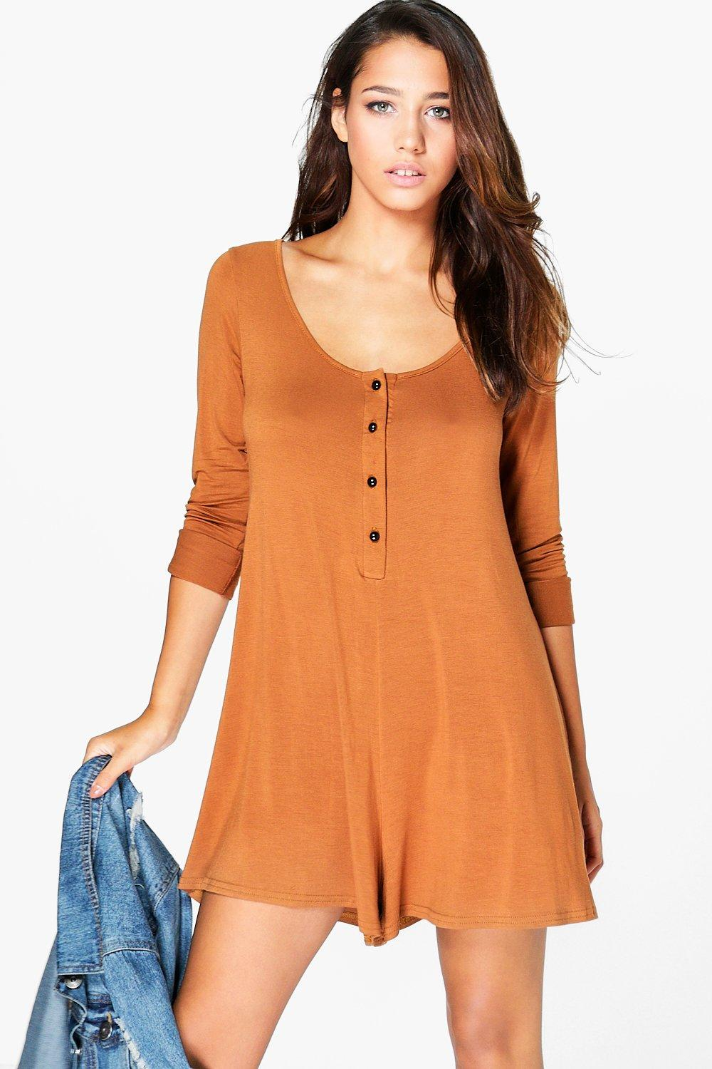 Zena Long Sleeve Button Front Swing Playsuit