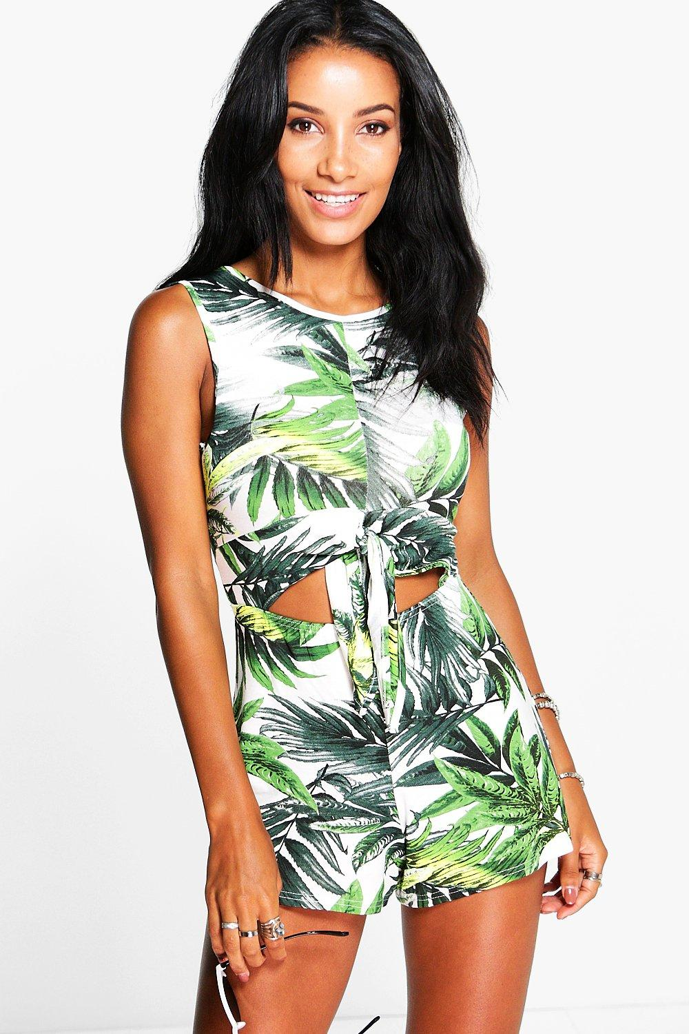 Kimmy Palm Print Tie Front Playsuit