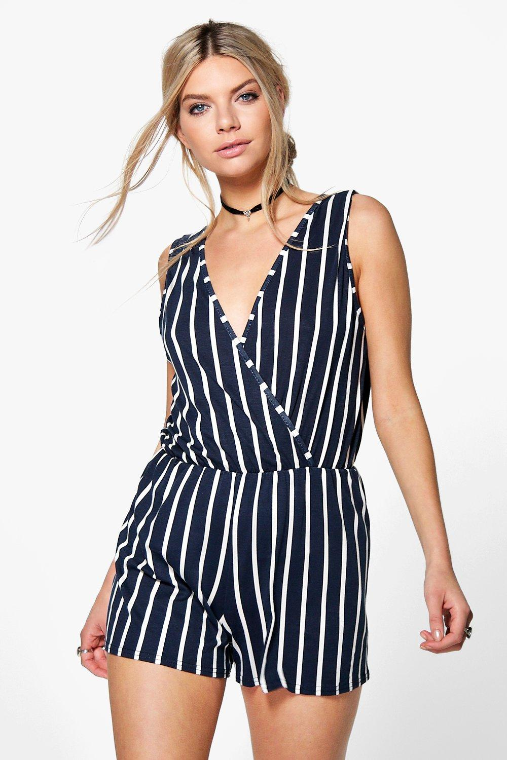 Lola Wrap Over Front Stripe Playsuit