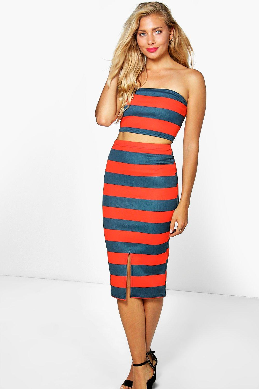 Tia Stripe Bandeau + Midi Skirt Co-Ord