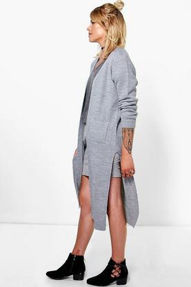 Ellie Side Split Midi Fisherman Cardigan