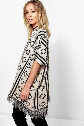 Faith Fringe Aztec Cape Cardigan