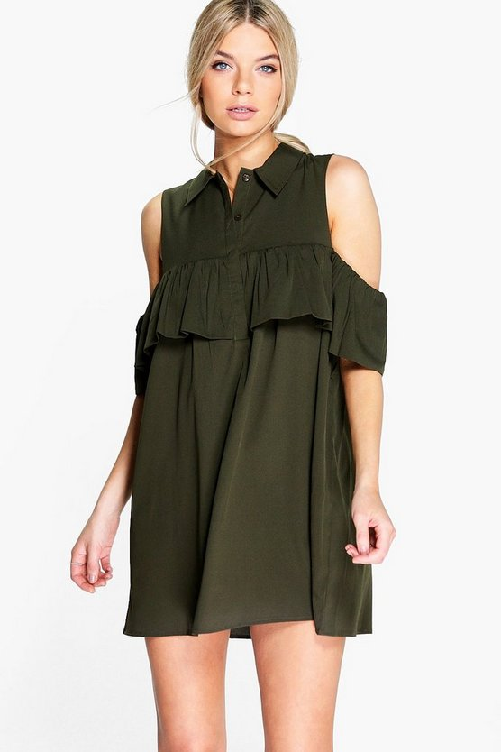 Beryl Woven Ruffle Cold Shoulder Dress