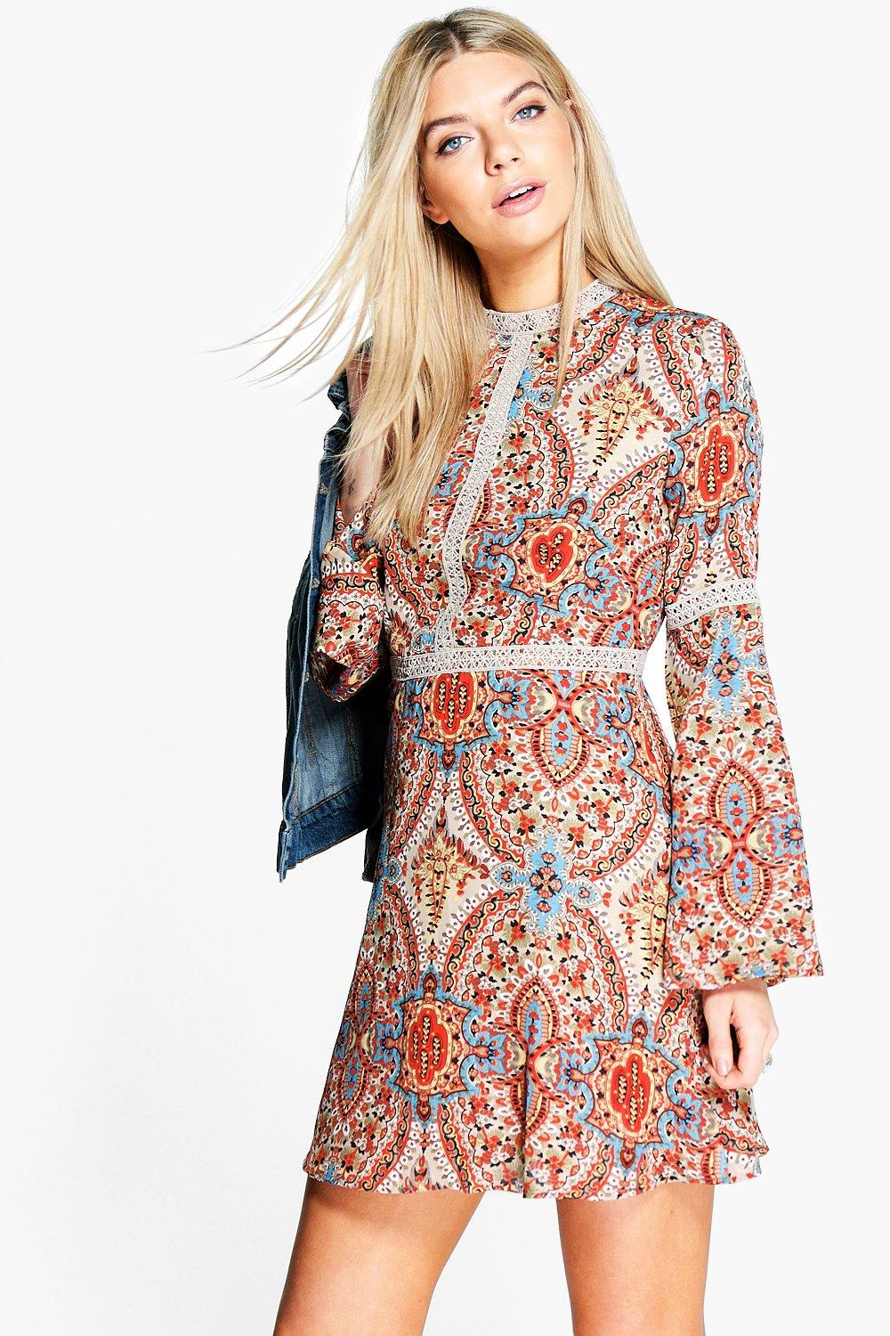 Laura High Neck Paisley Skater Dress