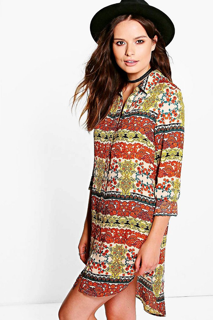 Molly Paisley Woven Shirt Dress