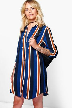 Alicia Striped Woven Shirt Dress
