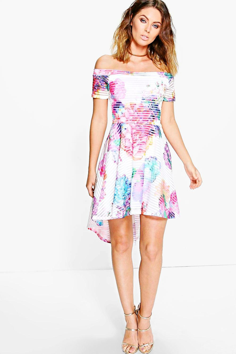 Alessandra Floral Mesh Bardot Dress