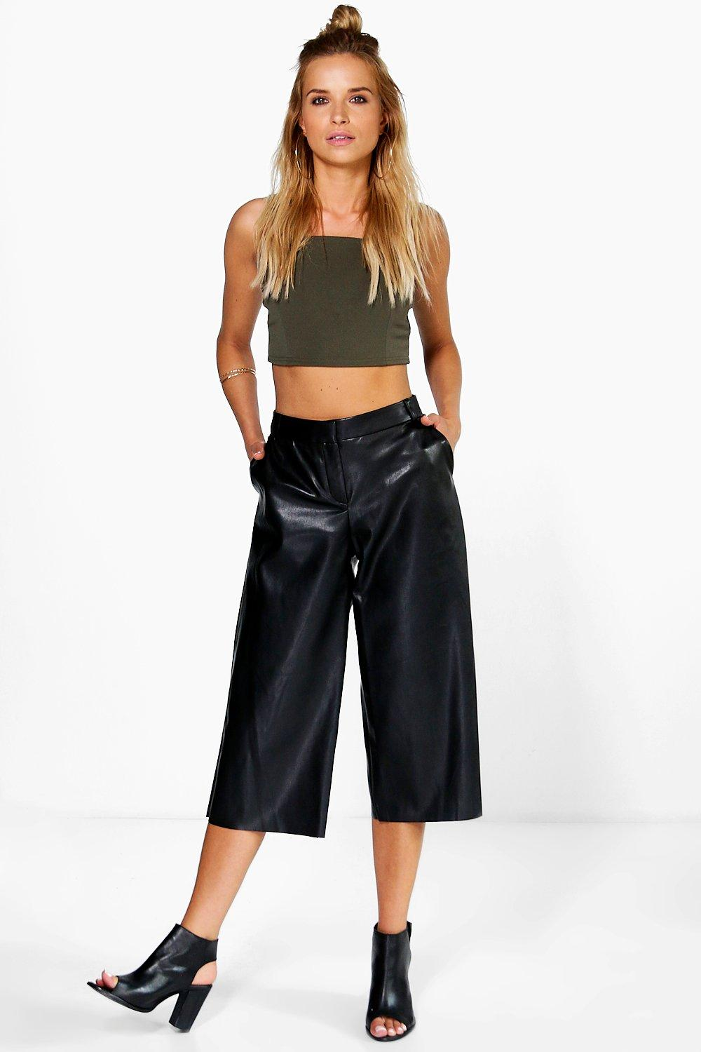 Faux Leather Culottes black