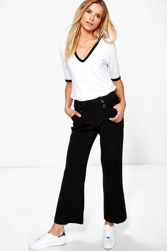 Calida Button Detail Wide Leg Trousers