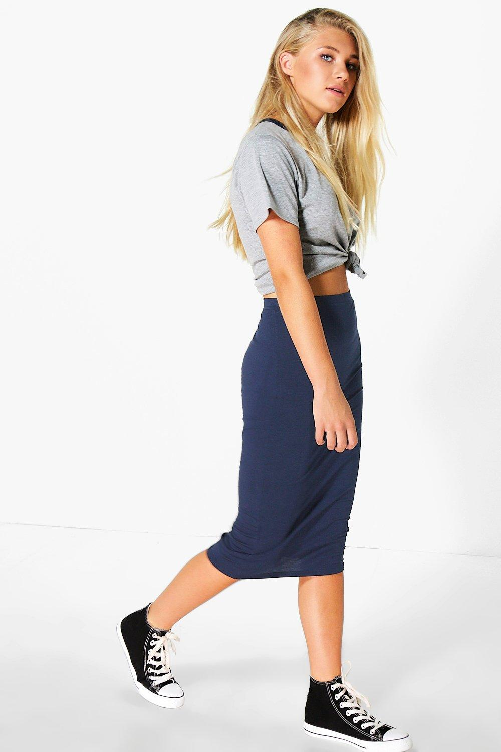 Cacey Jersey Bodycon Midi Skirt