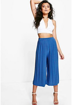 Saskia Slinky Pleated Wide Leg Cropped Trousers