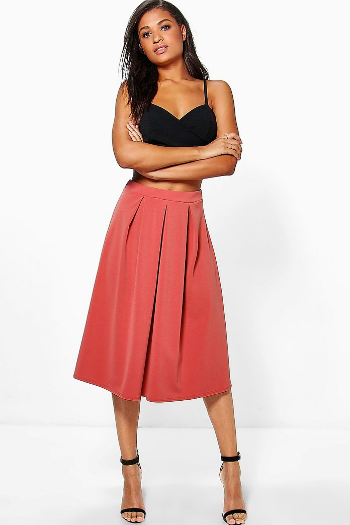 Beau Scuba Box Pleat Midi Skater Skirt