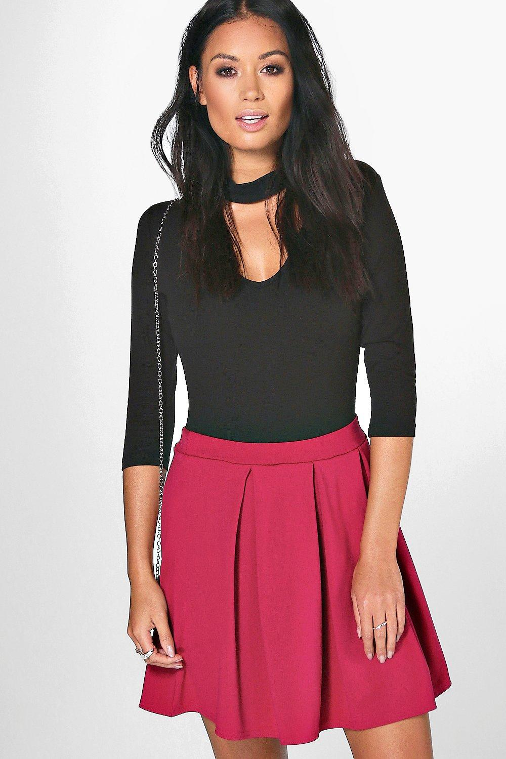 Aya Scuba Box Pleat Skater Skirt