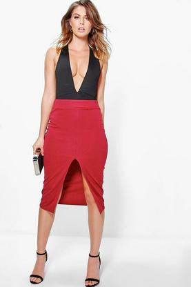 Megzhan Front Split Scuba Longer Line Midi Skirt