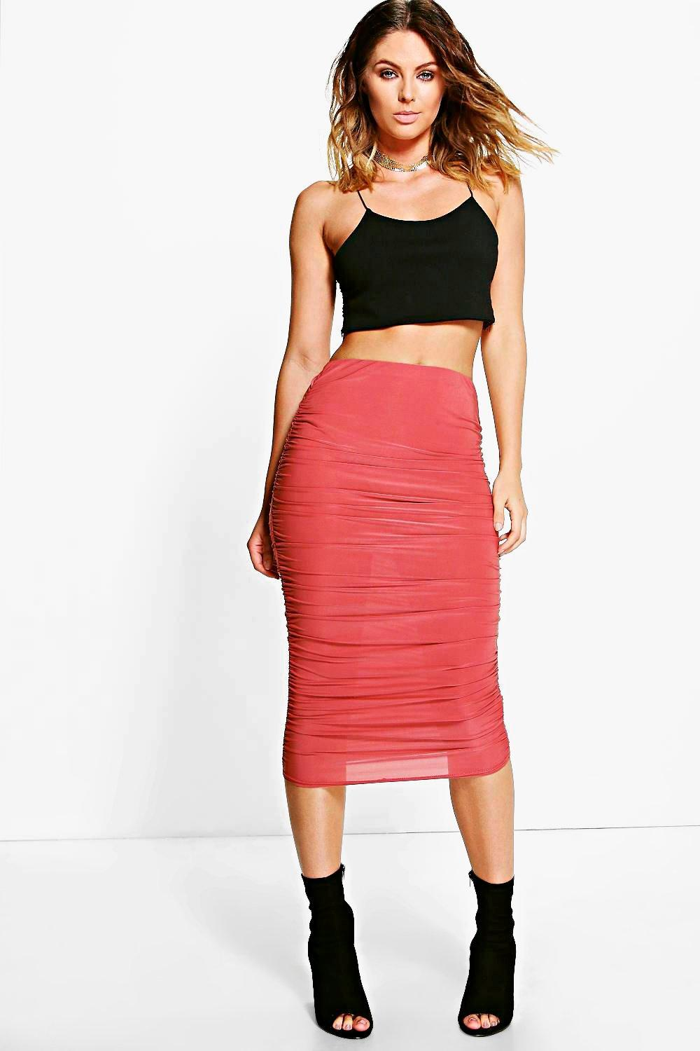 Maddie Rouched Side Slinky Midi Skirt