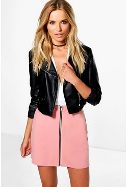 Louella Zip Front A Line Mini Skirt