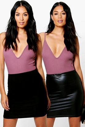 Amari 2 Pack Wet Look And Jersey Mini Skirt