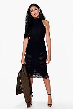 Lucie Mesh And Grid Overlay Midi Skirt